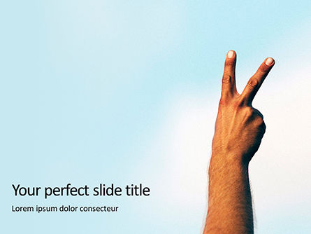 People: One Hand Making Peace Sign At Blue Sky Presentation Gratis Powerpoint Template #16677