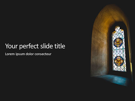 Art & Entertainment: Stained Glass Window In Dark Room Presentation Gratis Powerpoint Template #16680