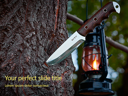 Nature & Environment: Knife In A Tree Trunk Presentation Gratis Powerpoint Template #16682