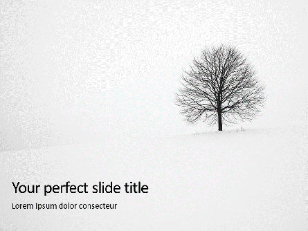 Nature & Environment: Alone Tree On A Winter Field Presentation Gratis Powerpoint Template #16684