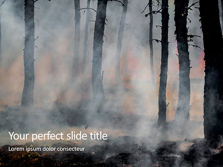Nature & Environment: Tree Trunks In A Smoke Presentation Gratis Powerpoint Template #16687
