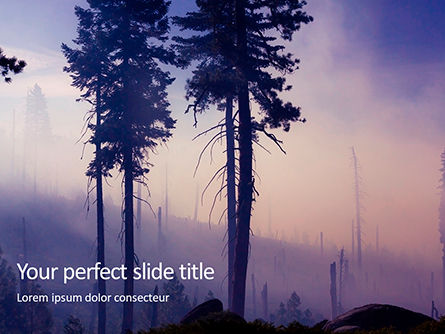 Nature & Environment: Smoke Forest After Wildfire Presentation Gratis Powerpoint Template #16688