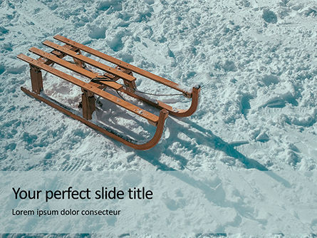 Nature & Environment: Wooden Sled On Snow Presentation Gratis Powerpoint Template #16690