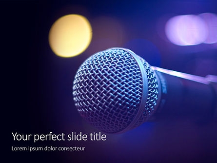 Art & Entertainment: Close Up Of Microphone In Concert Hall With Blurred Lights Presentation Gratis Powerpoint Template #16693