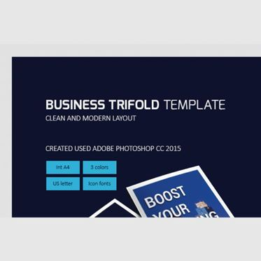 Business: Business Company Trifold Photoshop Template #08448