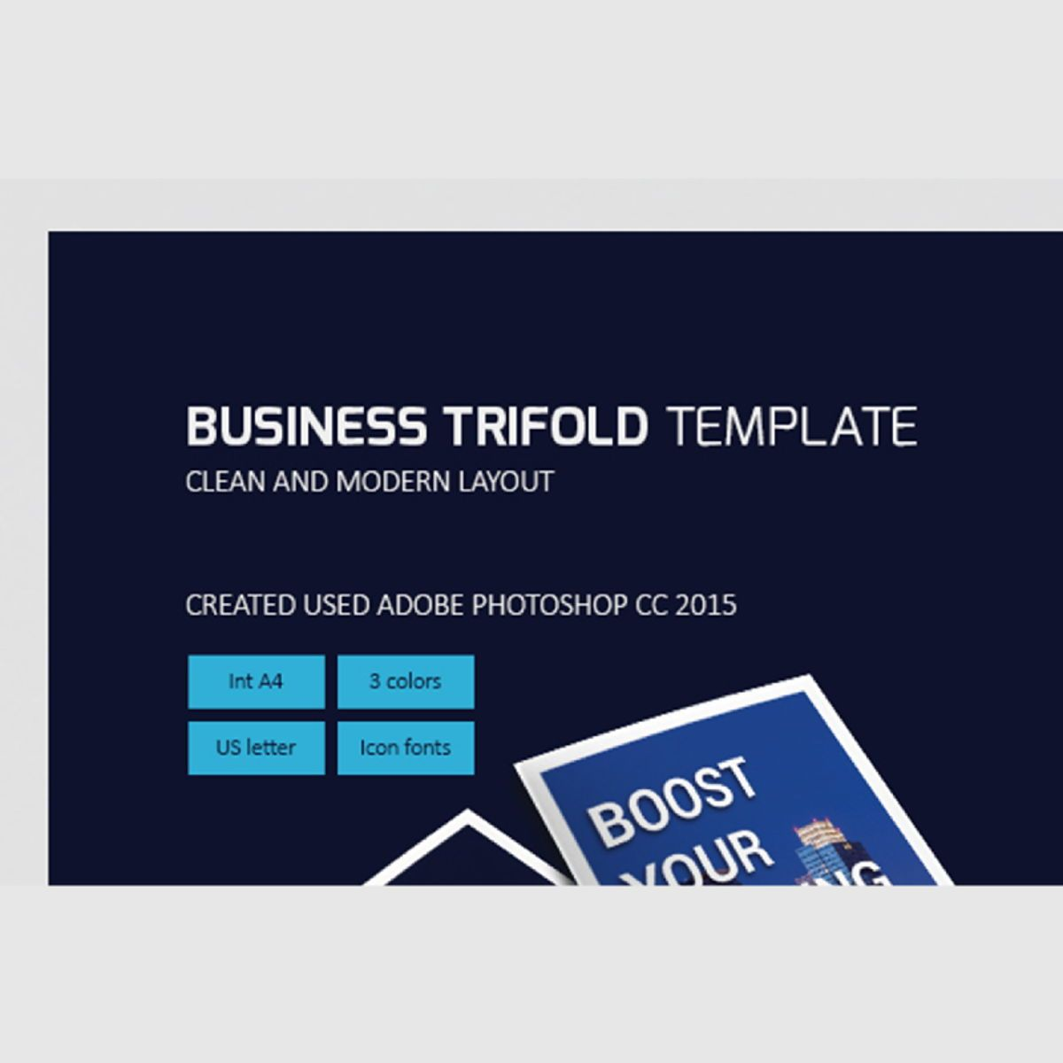 Business Company Trifold Photoshop Template, 08448, ビジネス — PoweredTemplate.com