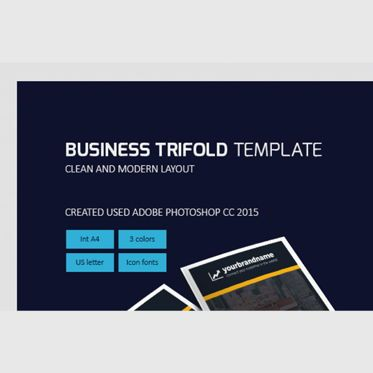 Business: Business Company Trifold Brochure Photoshop Template #08449