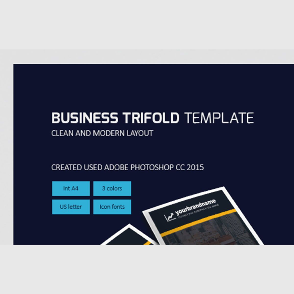 Business Company Trifold Brochure Photoshop Template, 08449, Business — PoweredTemplate.com