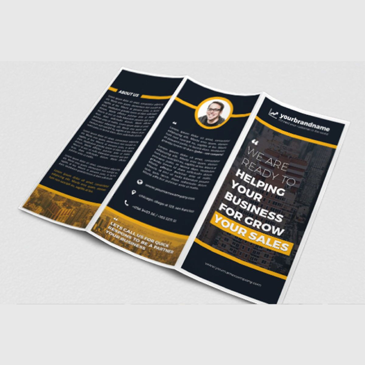 Business Company Trifold Brochure Photoshop Template, Slide 3, 08449, Business — PoweredTemplate.com