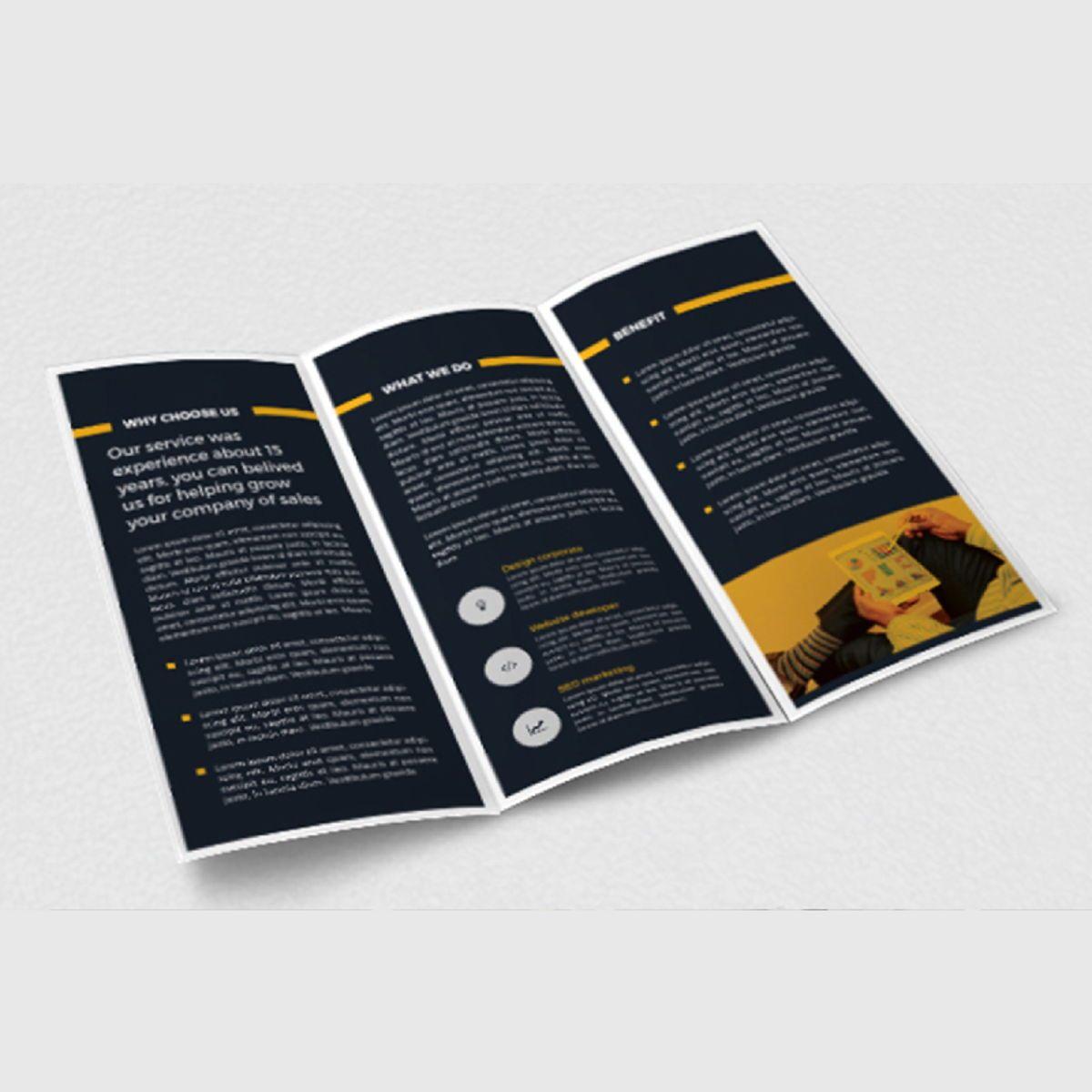 Business Company Trifold Brochure Photoshop Template, Slide 4, 08449, Business — PoweredTemplate.com