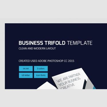 Business: Business Brochure Trifold PSD Template #08450