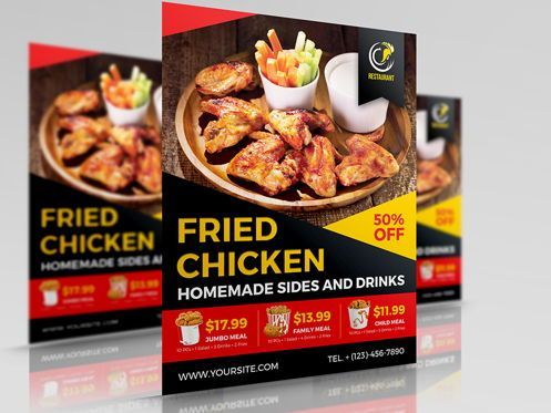 Food & Beverage: Fried Chicken Restaurant Flyer Template #08452
