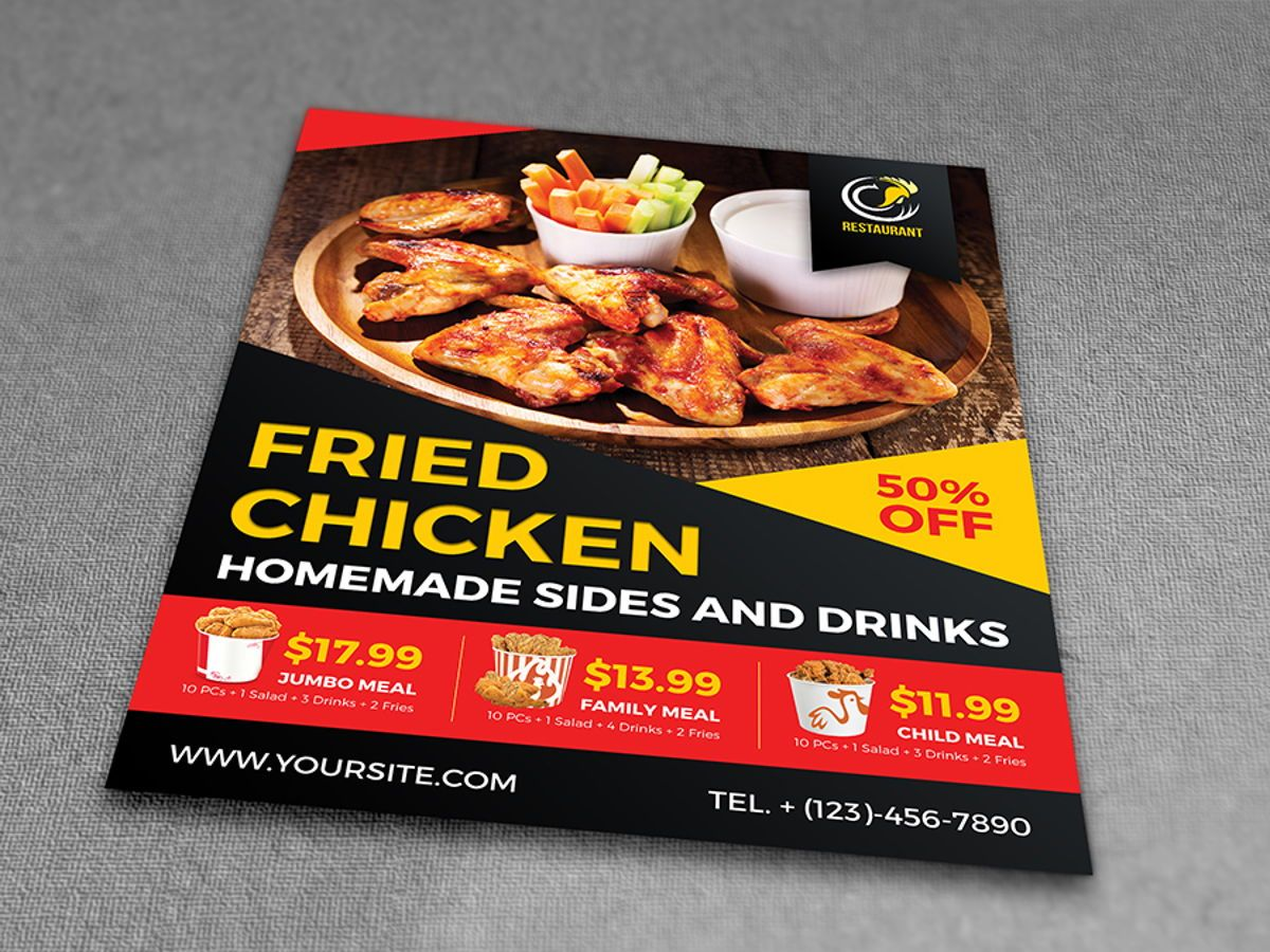 Fried Chicken Restaurant Flyer Template, Slide 3, 08452, Food & Beverage — PoweredTemplate.com