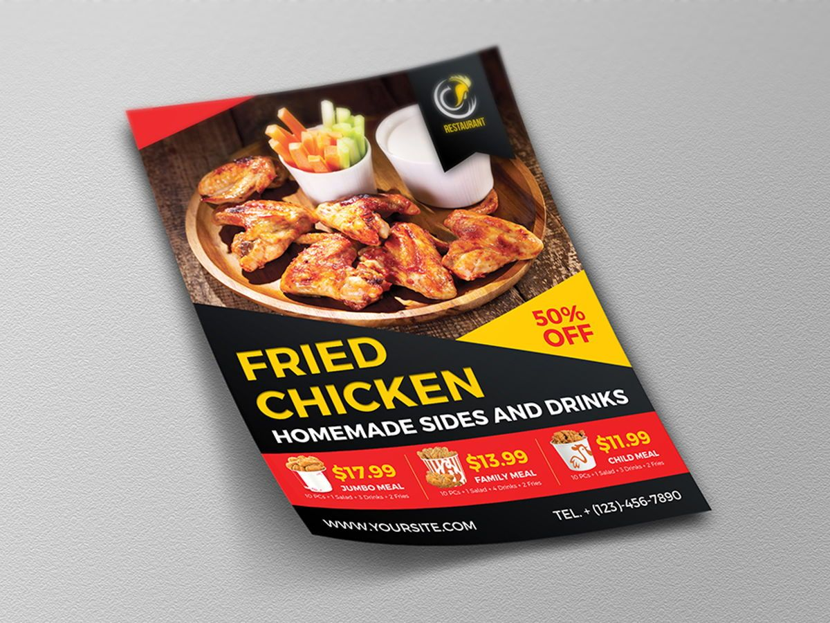 Fried Chicken Restaurant Flyer Template, Slide 4, 08452, Food & Beverage — PoweredTemplate.com