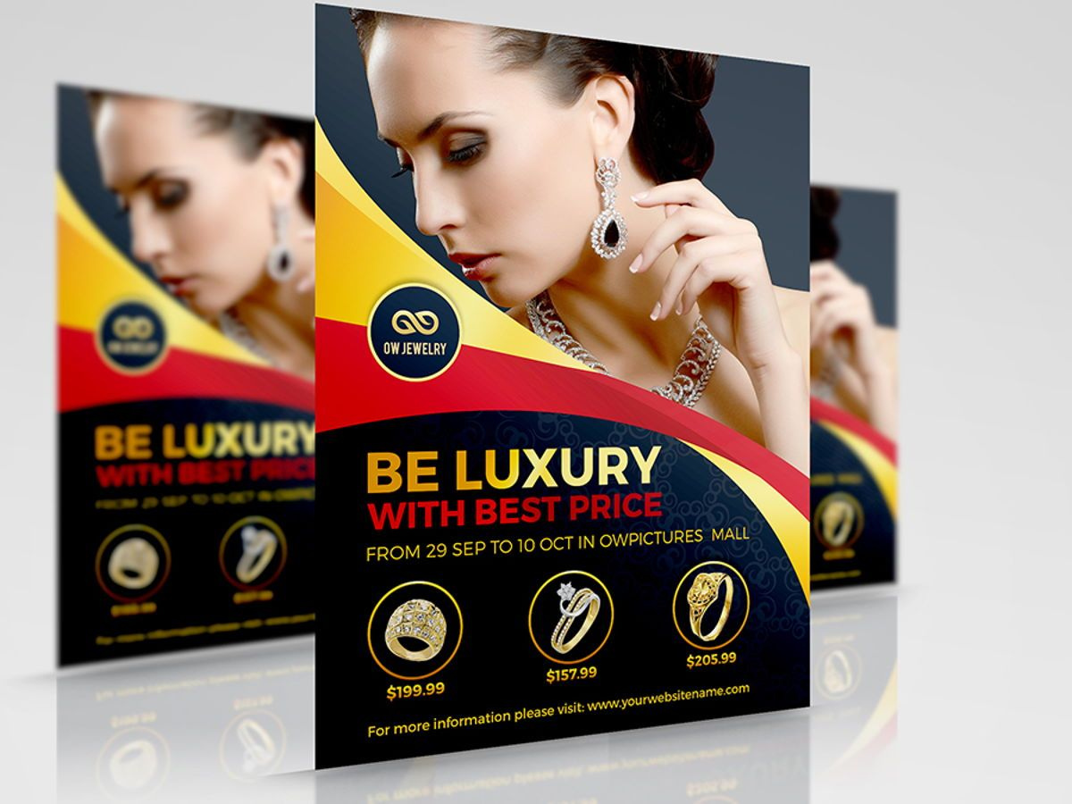 Jewelry Flyer Template, 08453, Concepts commerciaux — PoweredTemplate.com