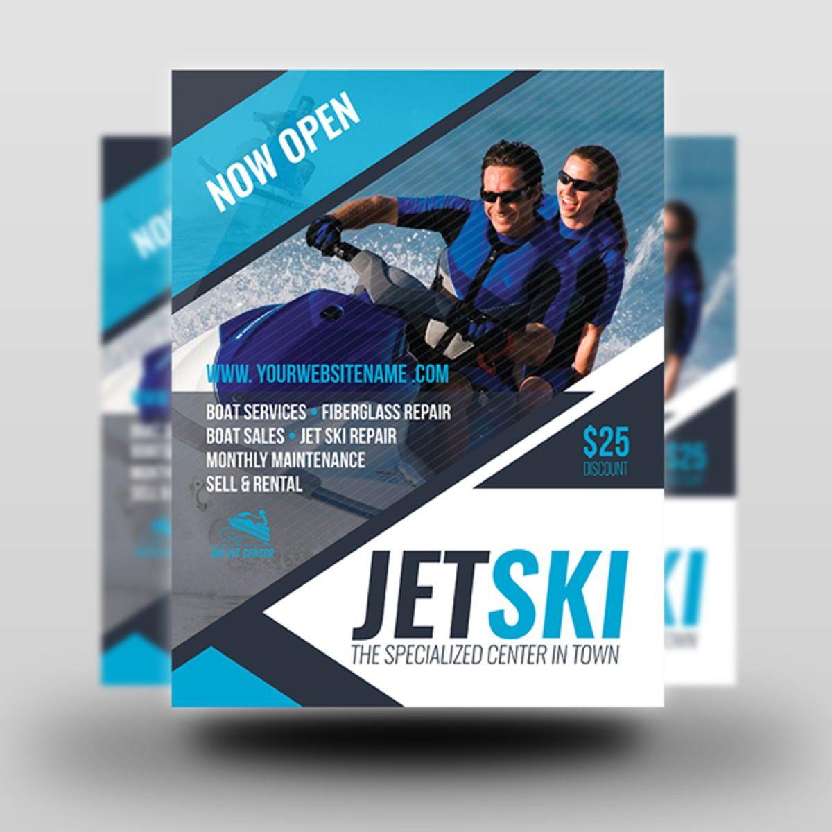 Jet Ski Flyer Template, Slide 2, 08455, Sports — PoweredTemplate.com