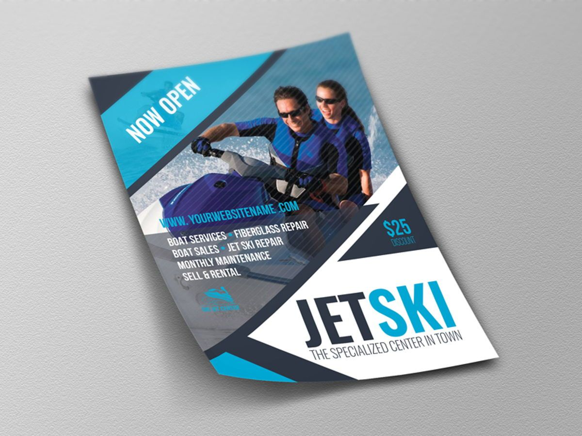 Jet Ski Flyer Template, Slide 4, 08455, Sports — PoweredTemplate.com