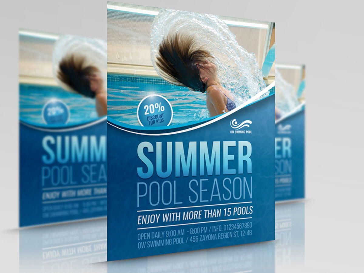 Swimming Pool Flyer Template, 08457, Sports — PoweredTemplate.com