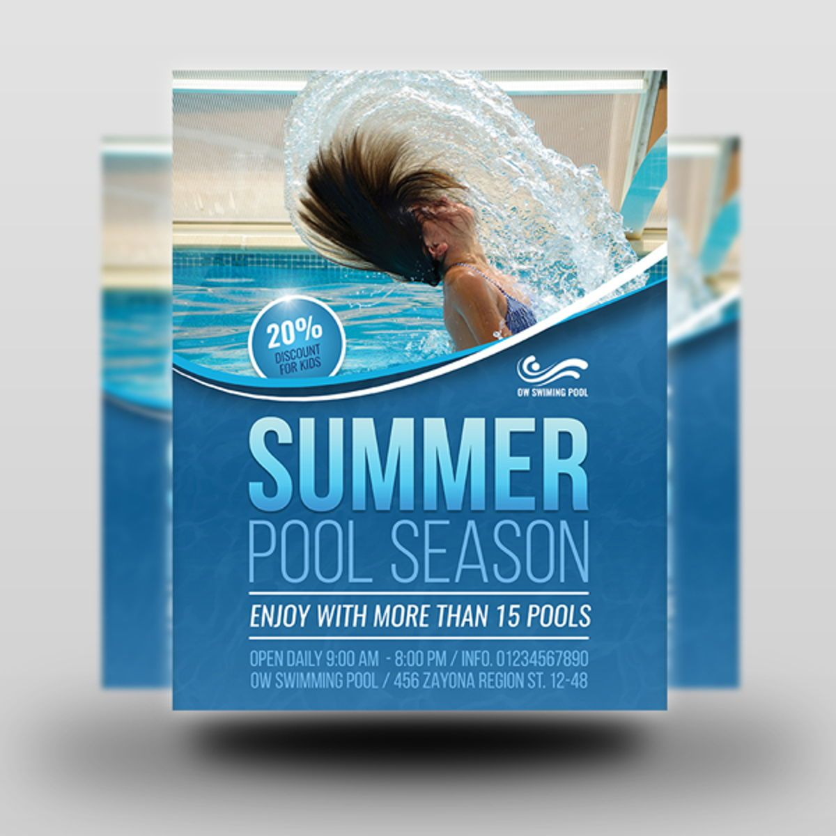 Swimming Pool Flyer Template, Slide 2, 08457, Sports — PoweredTemplate.com