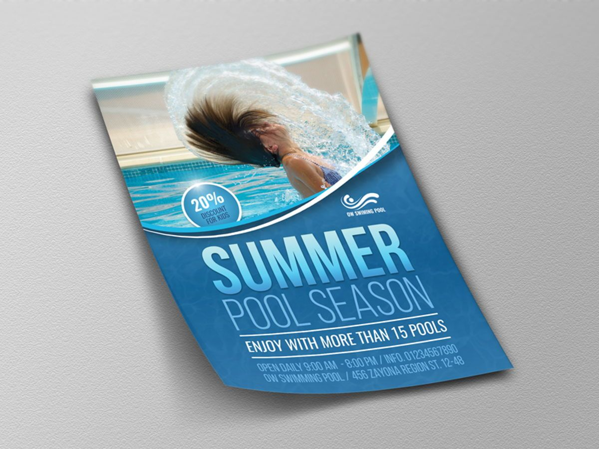 Swimming Pool Flyer Template, Slide 4, 08457, Sports — PoweredTemplate.com