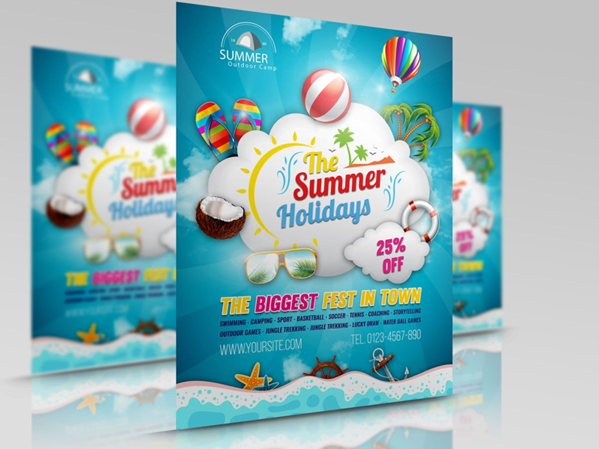Summer Travel Flyer Template, 08458, Holiday/Special Occasion — PoweredTemplate.com