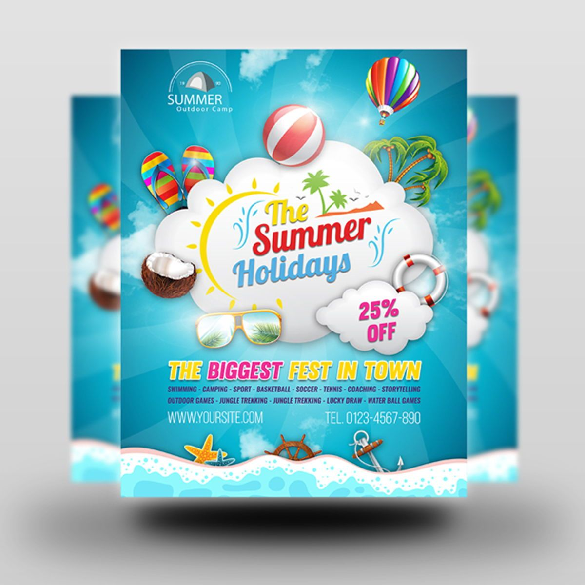 Summer Travel Flyer Template, Slide 2, 08458, Holiday/Special Occasion — PoweredTemplate.com