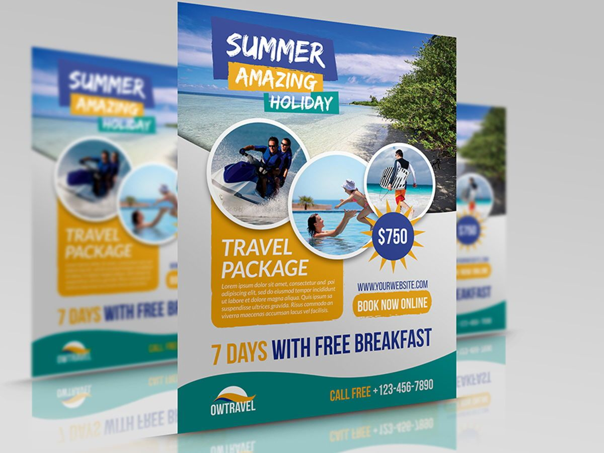 Travel Company Flyer Template, 08459, Holiday/Special Occasion — PoweredTemplate.com