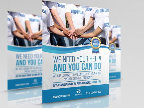 People: Volunteer Charity Flyer Template #08461