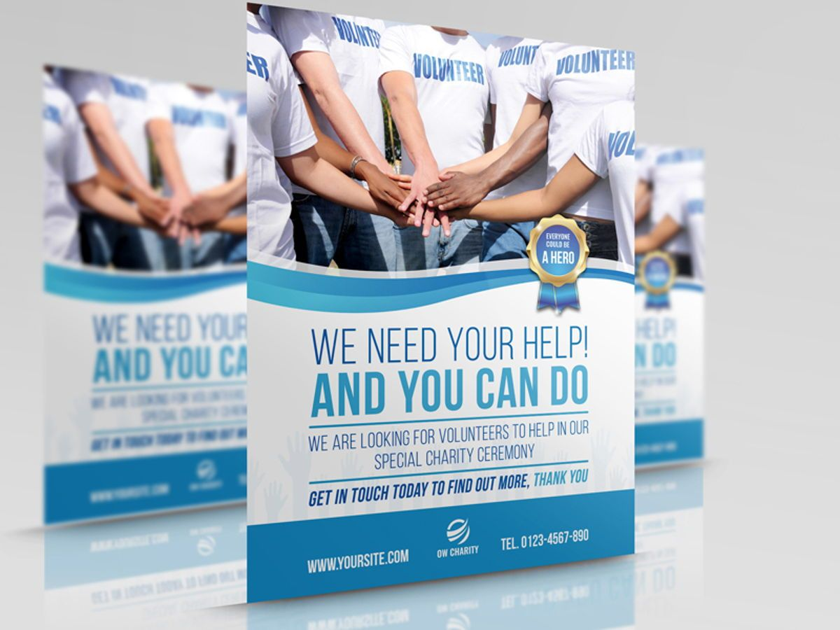 Volunteer Charity Flyer Template, 08461, People — PoweredTemplate.com
