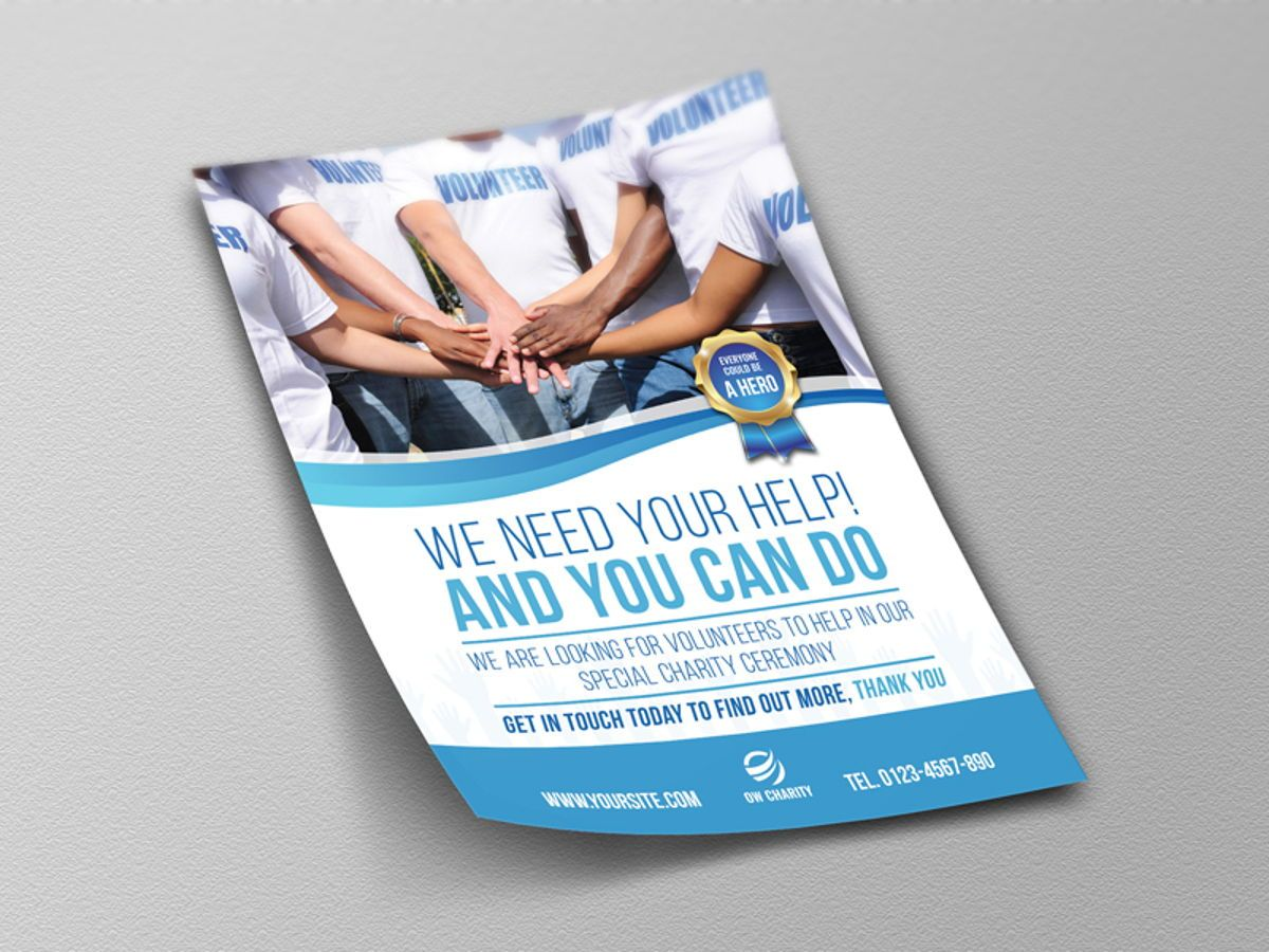 Volunteer Charity Flyer Template, Slide 4, 08461, People — PoweredTemplate.com