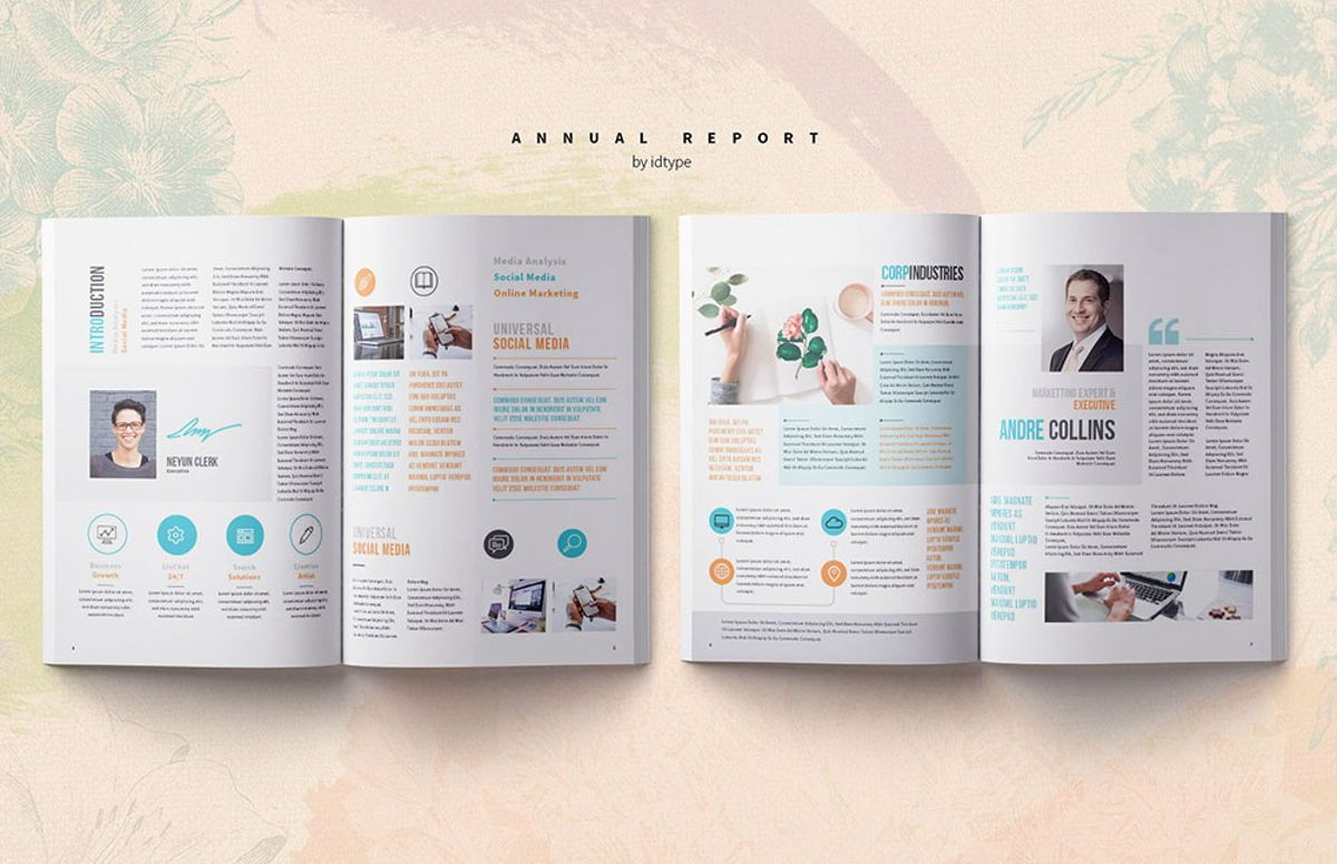 Annual Report 2020 Business Template Printable Business Brochure InDesign Template 28 pages V, Slide 3, 08463, Business — PoweredTemplate.com