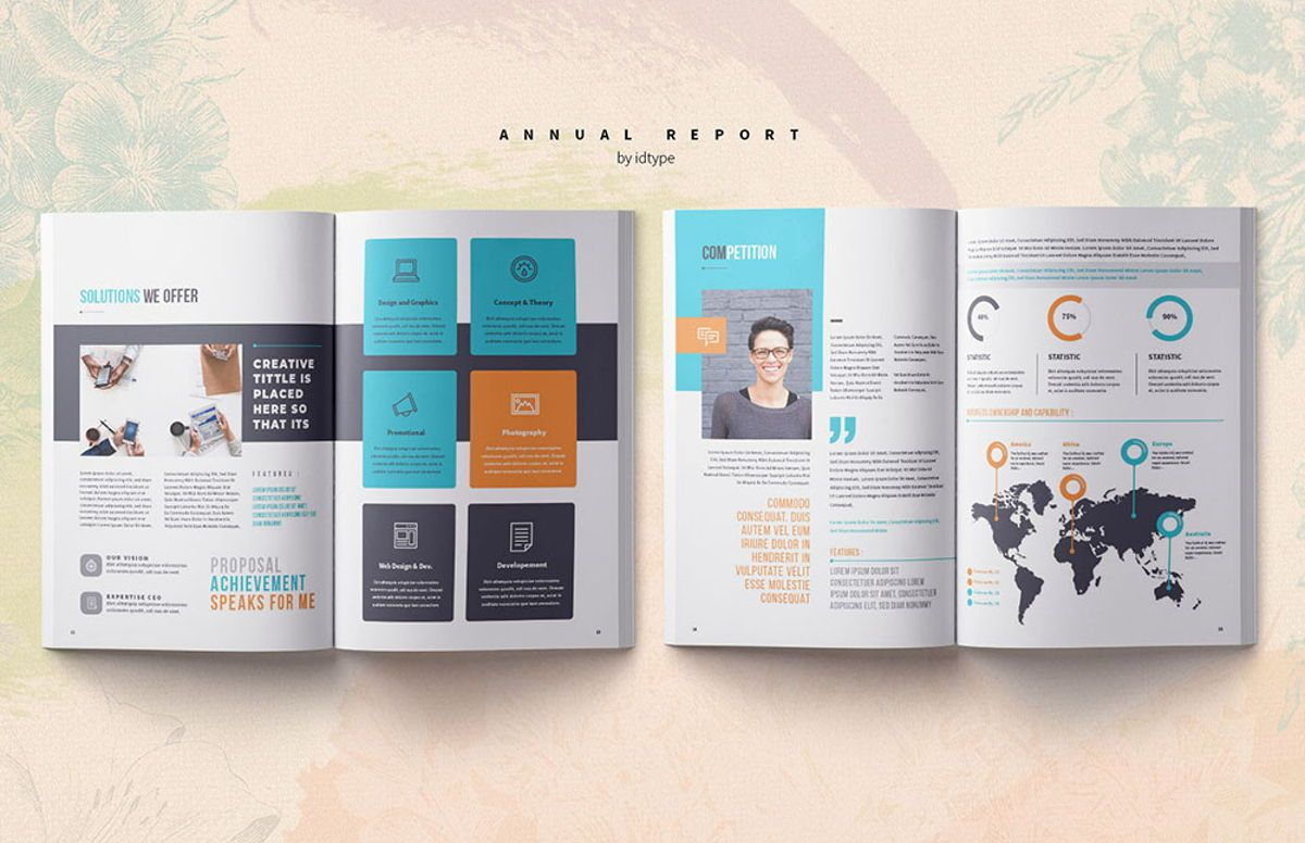 Annual Report 2020 Business Template Printable Business Brochure InDesign Template 28 pages V, Slide 6, 08463, Business — PoweredTemplate.com