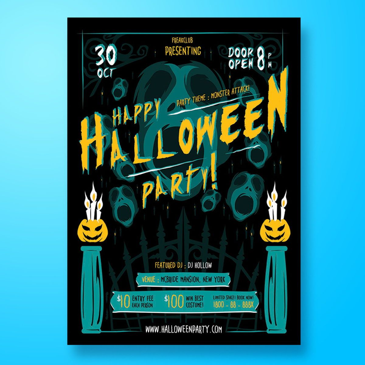 Halloween Party Flyer Template, 08467, Art & Entertainment — PoweredTemplate.com