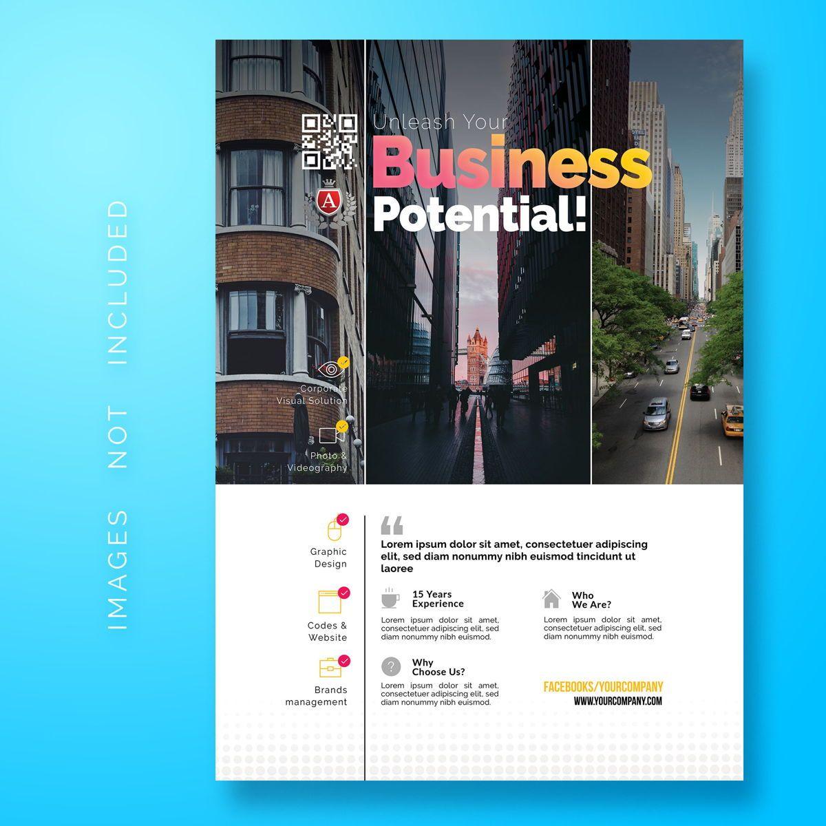 Corporate Business Flyer Template, 08474, Abstrait / Textures — PoweredTemplate.com