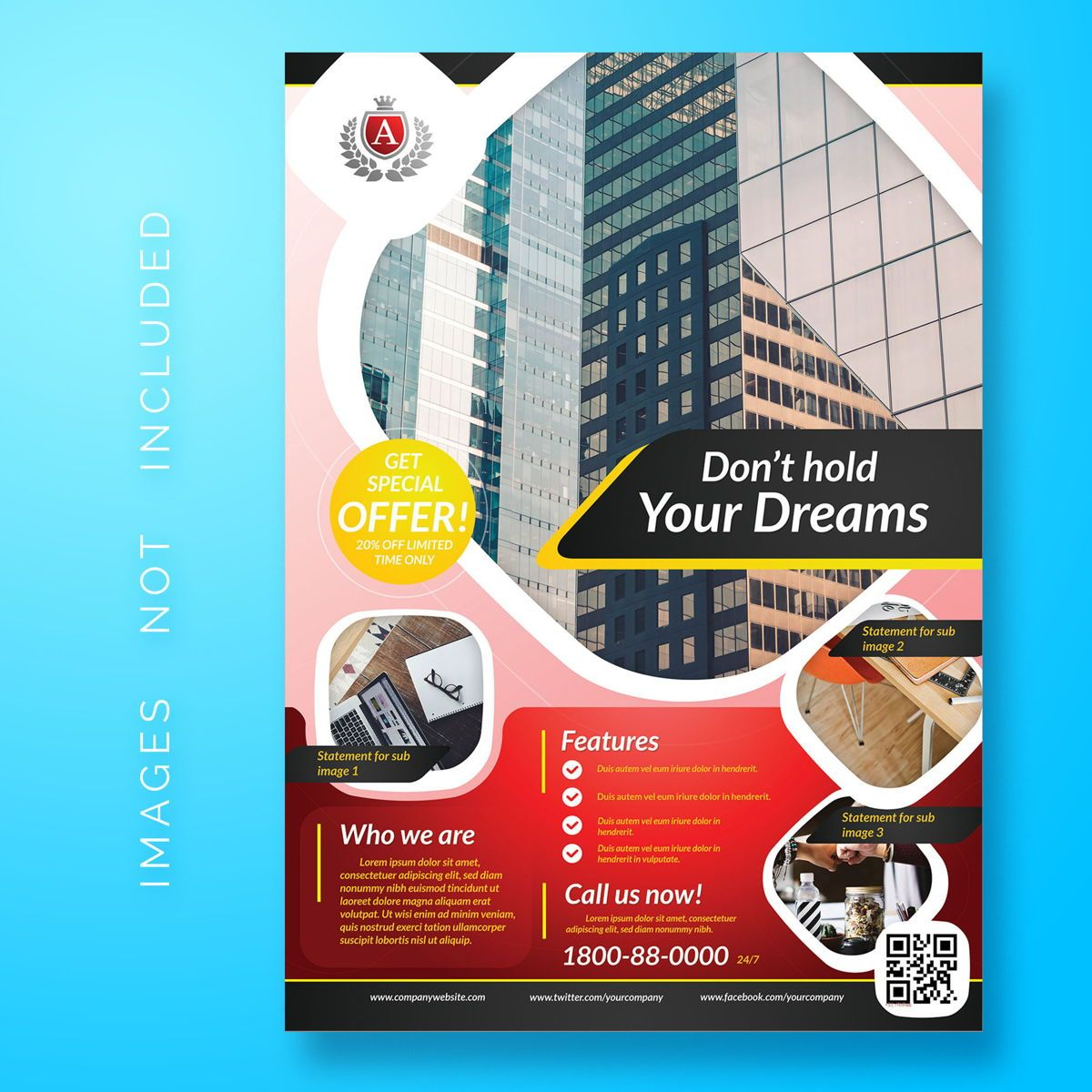 Corporate Business Flyer Template, 08477, 3D — PoweredTemplate.com