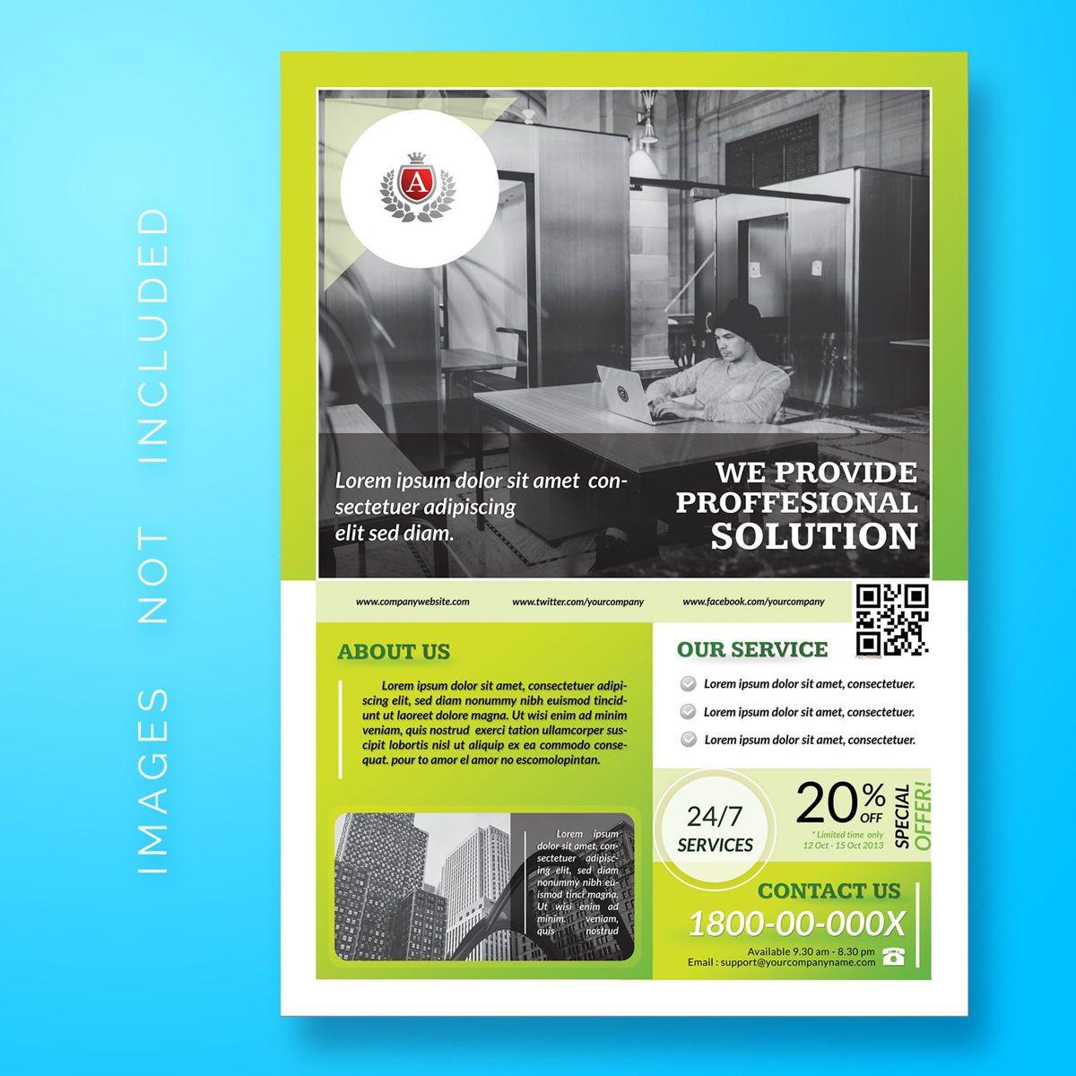 Corporate Business Flyer Template, 08478, 3D — PoweredTemplate.com