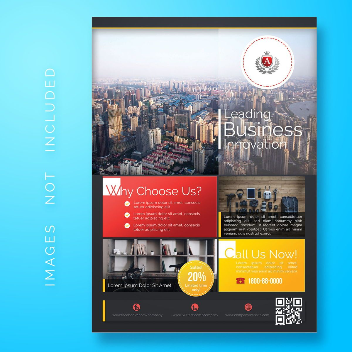 Business Corporate Flyer Template, 08479, 3D — PoweredTemplate.com