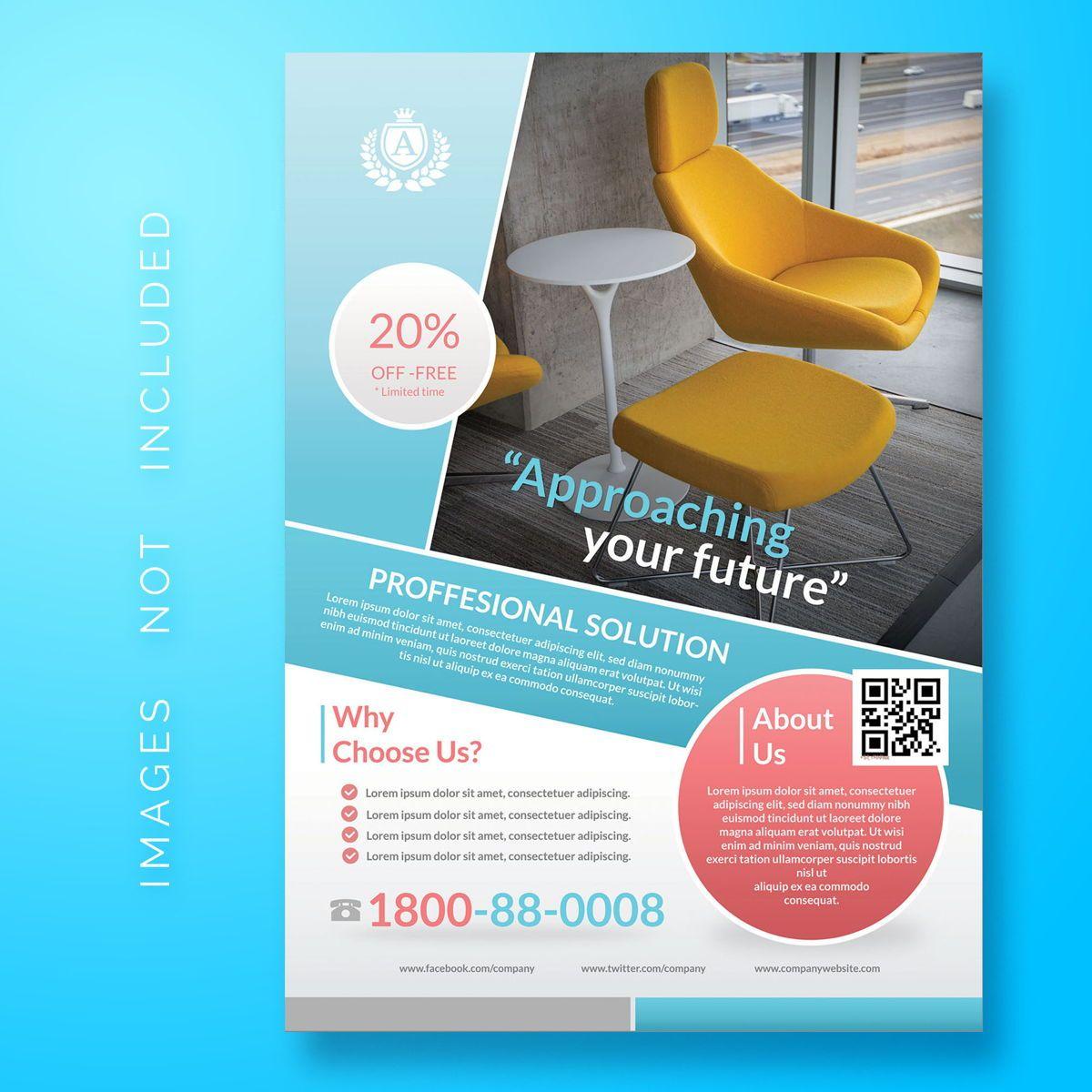 Business Corporate Flyer Template, 08482, 3D — PoweredTemplate.com