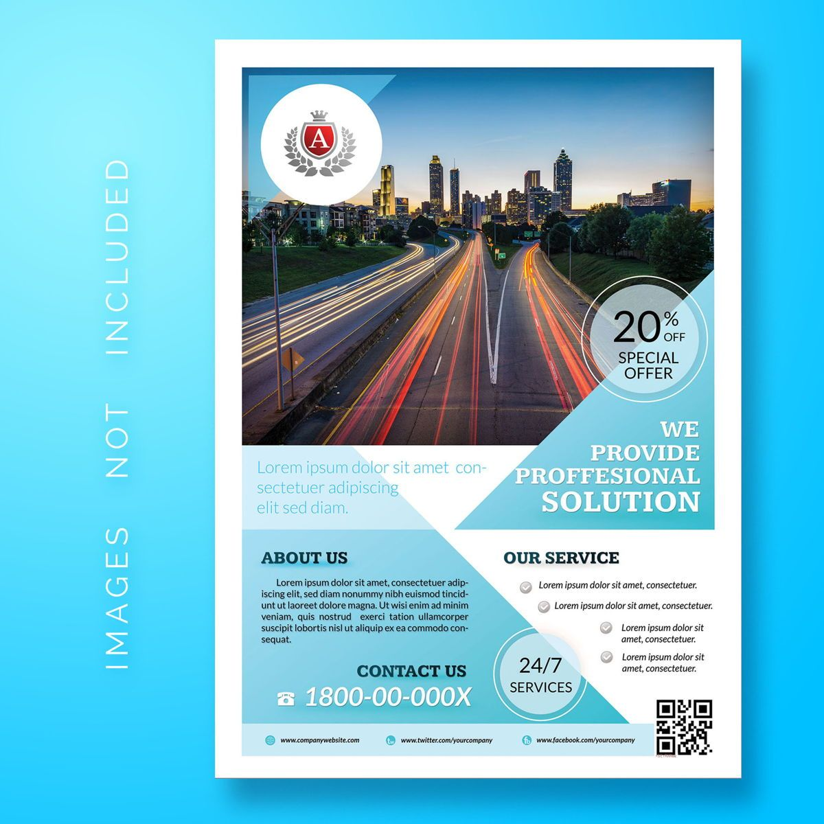 Business Corporate Flyer Template, 08484, 3D — PoweredTemplate.com