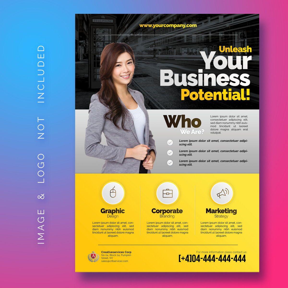Business Corporate Flyer Template, 08485, 3D — PoweredTemplate.com