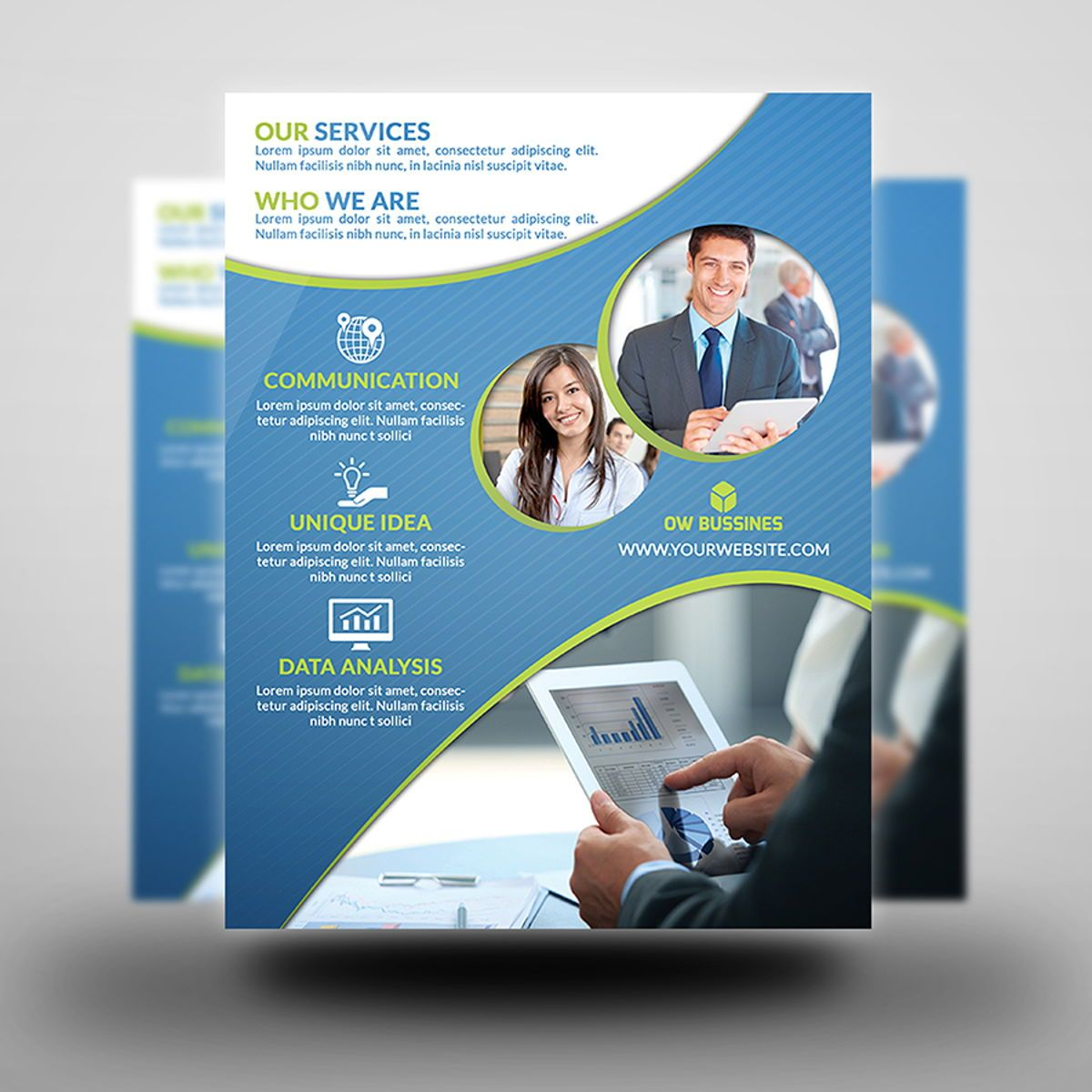 Corporate Flyer Template, Diapositive 2, 08492, Business — PoweredTemplate.com