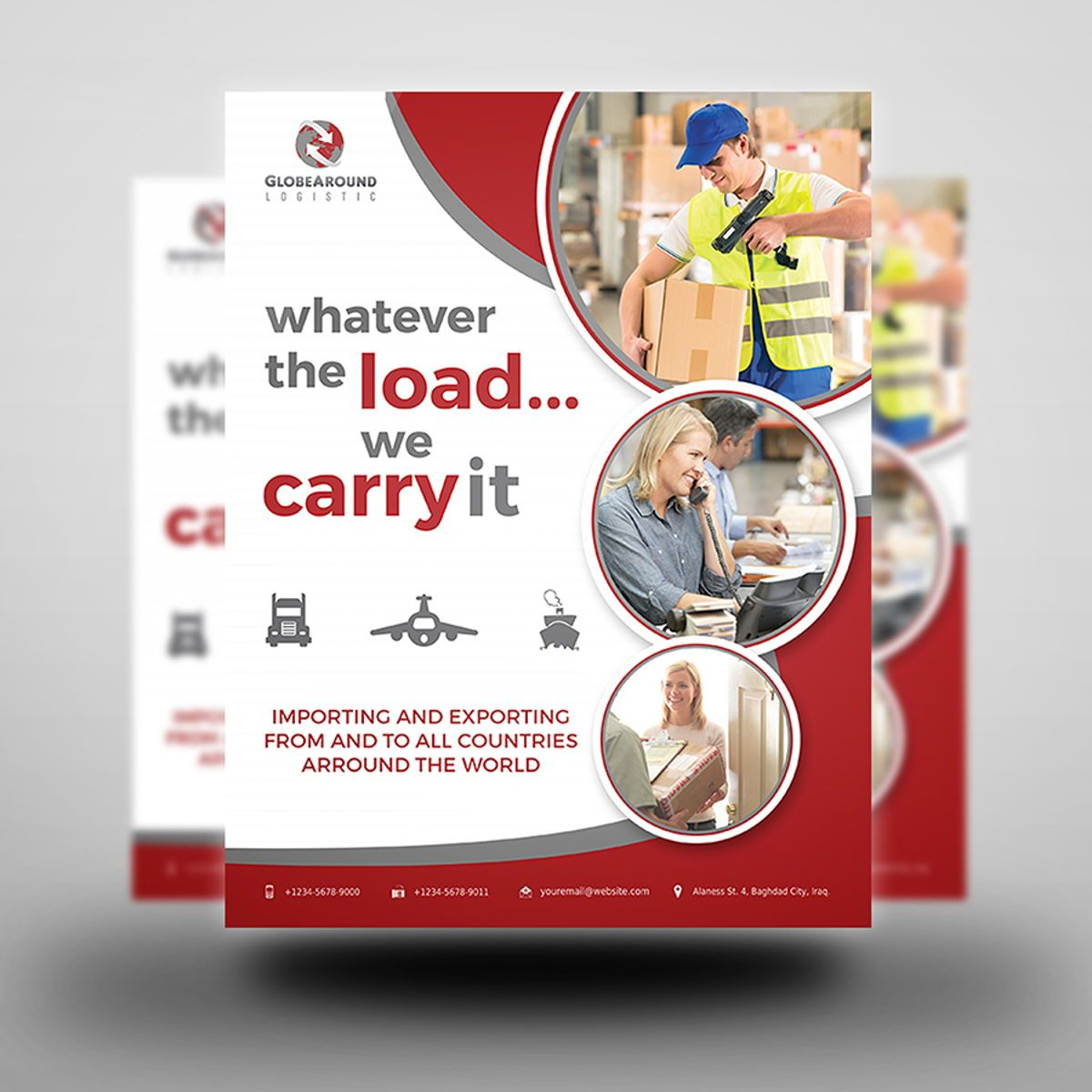 Freight and Logistic Services Flyer Template, Diapositive 3, 08493, Voitures / Transport — PoweredTemplate.com