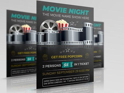 Art & Entertainment: Movie Night - Movie Time Flyer Template #08494