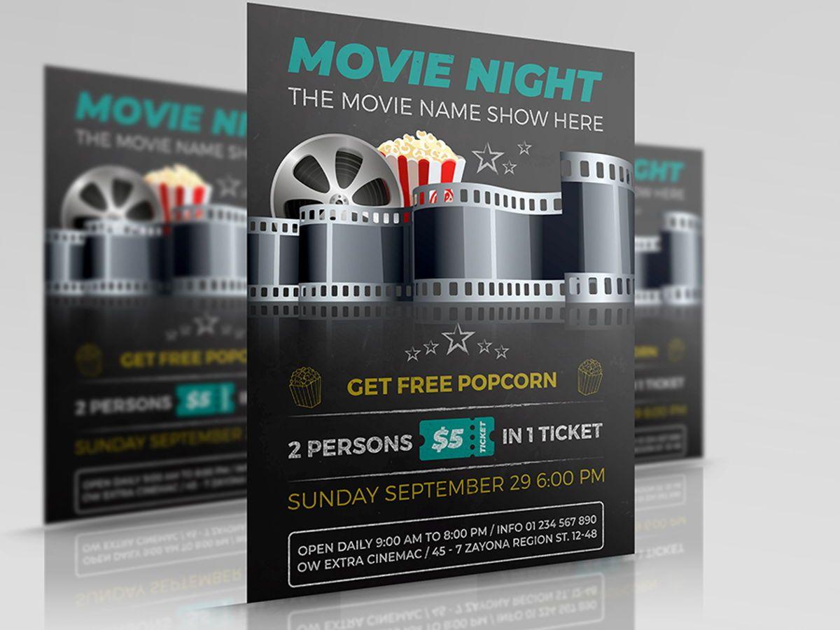 Movie Night - Movie Time Flyer Template, 08494, Art & Entertainment — PoweredTemplate.com