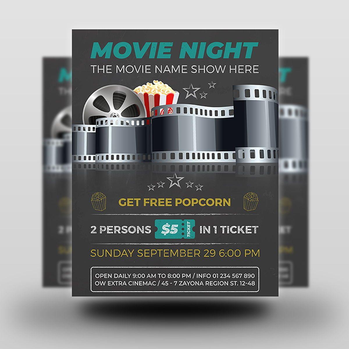 Movie Night - Movie Time Flyer Template, Slide 2, 08494, Art & Entertainment — PoweredTemplate.com