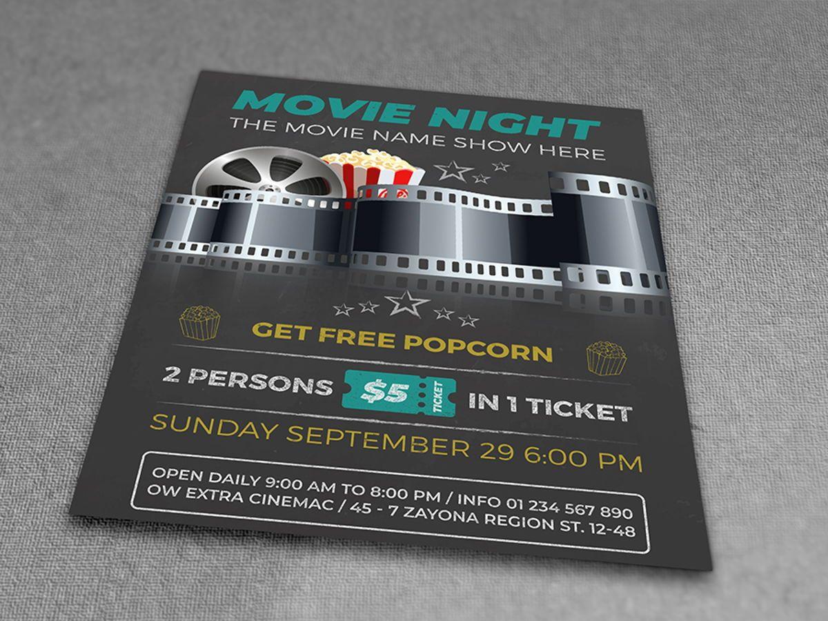 Movie Night - Movie Time Flyer Template, Slide 3, 08494, Art & Entertainment — PoweredTemplate.com
