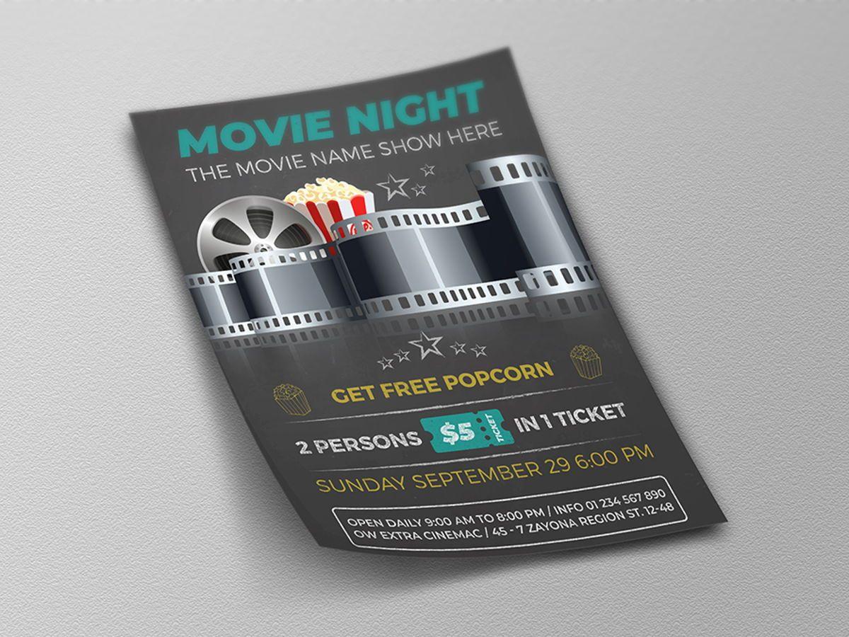 Movie Night - Movie Time Flyer Template, Slide 4, 08494, Art & Entertainment — PoweredTemplate.com