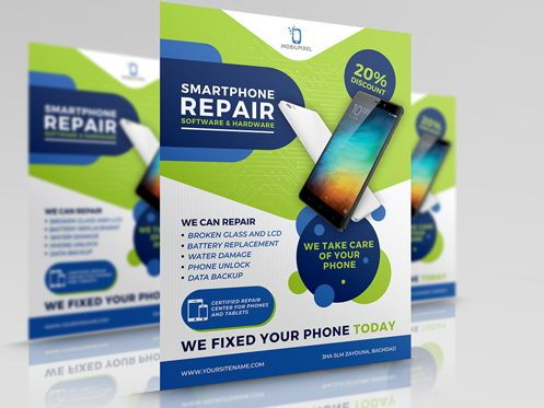Telecommunication: Smartphone Repair Service Flyer Template #08496