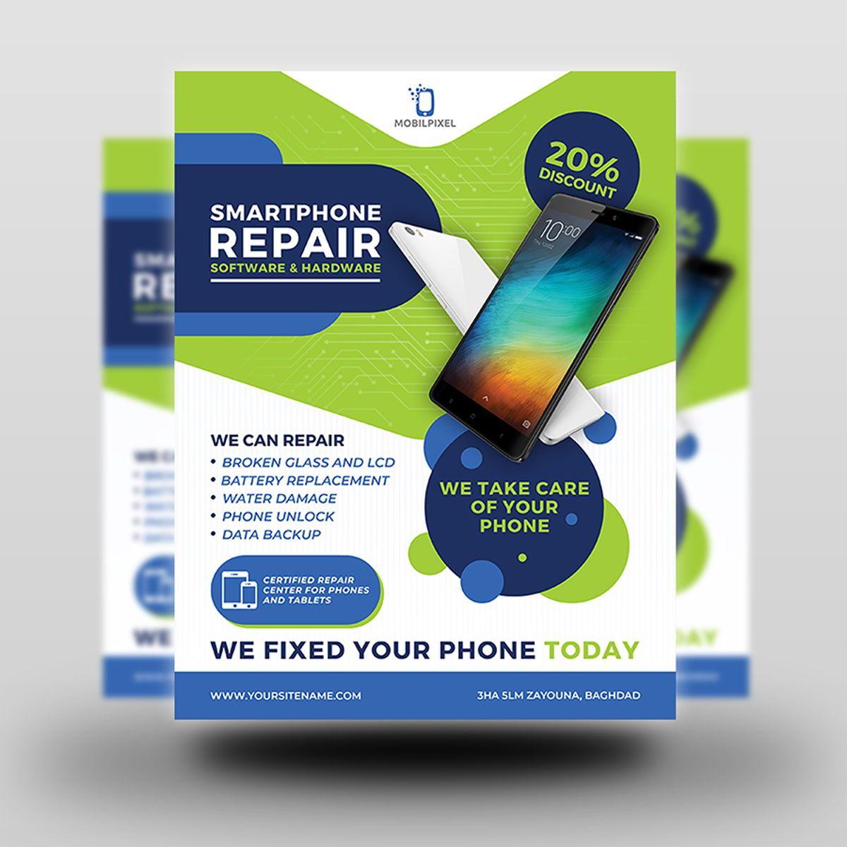 Smartphone Repair Service Flyer Template, Slide 2, 08496, Telecommunication — PoweredTemplate.com