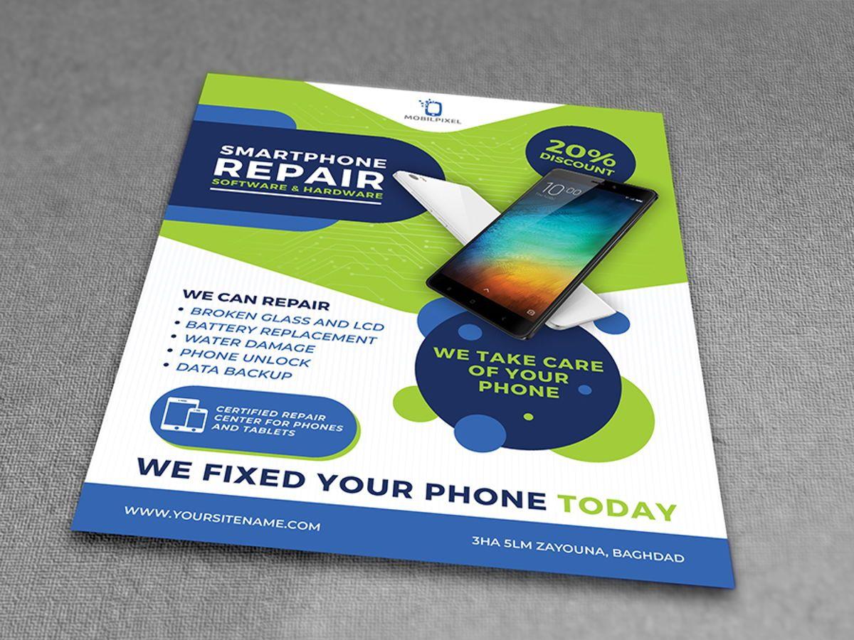 Smartphone Repair Service Flyer Template, Slide 3, 08496, Telecommunication — PoweredTemplate.com